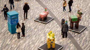 Minecraft sculptures in public square